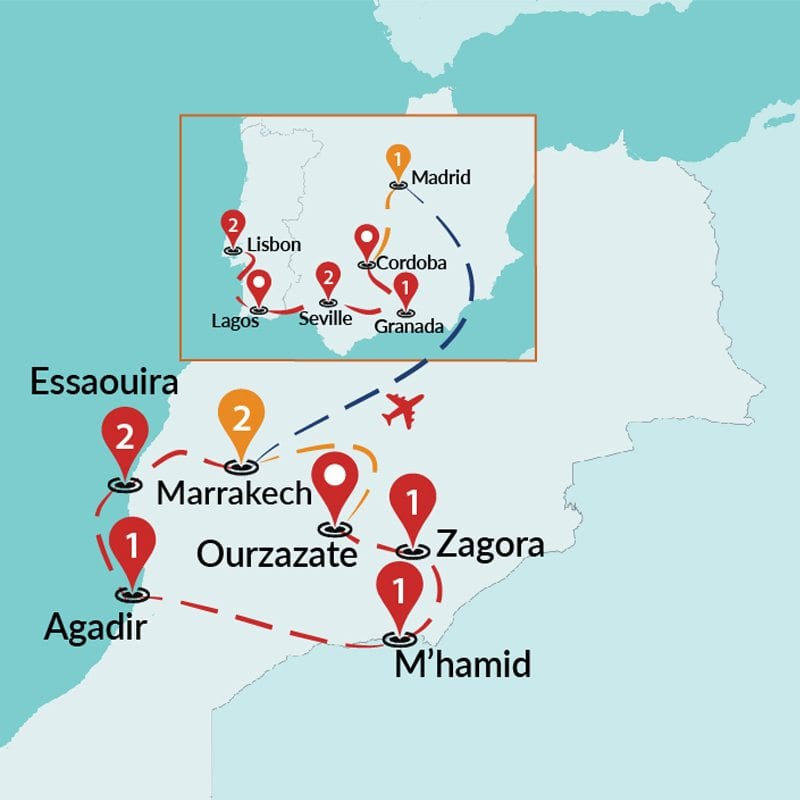 Detailed Map Of Spain Portugal And Morocco.Fantastic Morocco Morocco And Spain Tours Morocco And Spain