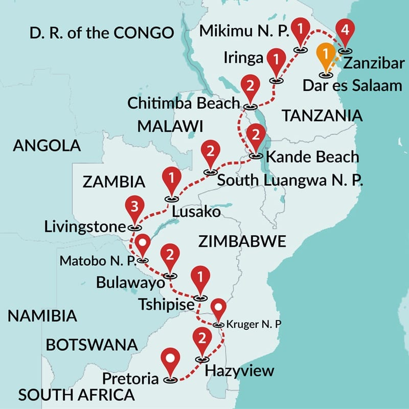 Zanzibar And Victoria Falls And Kruger Africa Tours